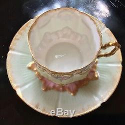 Limoges France Et Peint À La Main Jeweled Cup & Saucer C. 1885-1900