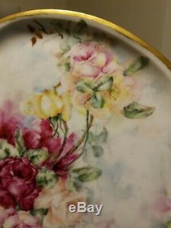 Limoges France Grand Plateau Avec Poignée En Or Peint À La Main, Roses Roses Et Jaunes 17 L
