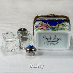 Limoges France Main Parfum Peint Coffret Cadeau Jeweled Bouteilles Signed