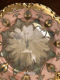 Limoges France Peint À La Main Art Nouveau Or Doré Plaque D'armoire Embellie