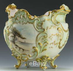 Limoges France Peint À La Main Rare Jardinière Vase