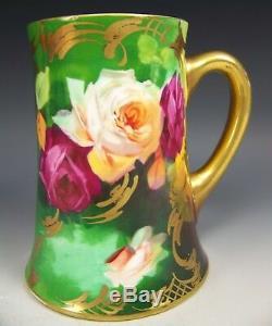 Limoges France Peint À La Main Roses Stein Artiste A. Broussillon