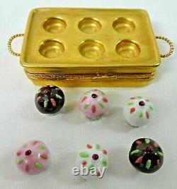 Limoges France Peint Main Gold Cupcake Tin / Boîte De Plateau Avec Des Cupcakes Amovibles