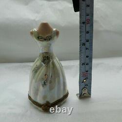 Limoges France Peint Main Mannequin Box Mop Iridescent Floral Dentelle Gown Rare