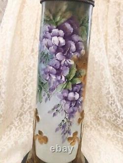 Limoges France Peinture À La Main Grande Lampe De Table En Porcelaine