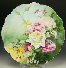 Limoges France Peinture À La Main Roses 13.5 Charger Artiste Signé & Daté