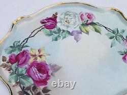 Limoges France Peinture À La Main Roses 16 Porcelaine Grand Plateau Antique Vanity Gold