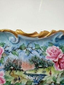 Limoges France Platter Peint À La Main Avec Des Roses Et Du Paysage 11- Signé
