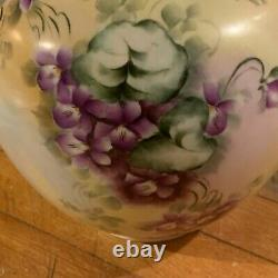 Limoges France Porcelaine Peinte À La Main Vase D'or Et Purple Violets