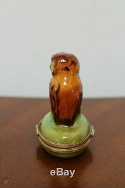 Limoges France Pour Tiffany & Co Owl Hinged Boîte Babiole Peinte À La Main