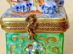 Limoges France Rochard Coffret Boîte À Bijoux Chien Gardien Chinois Peint À La Main