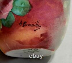 Limoges France Roses Peintes À La Main Ginger Jar Signé A Broussillon