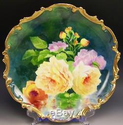 Limoges France Roses Peintes À La Main Reflétant La Plaque Signée A. Broussillon