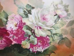 Limoges France Roses Plate Main Chargeur Peint Signé A. Rico 13,5