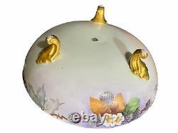 Limoges France T&v 3 Footed Bowl Hand Painted Dogwood Design 8 1/2 Par 3