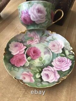 Limoges France Tea Cup & Saucer Roses Peintes À La Main & Or