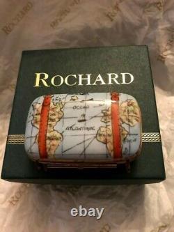 Limoges France Valise En Porcelaine Carte Du Monde Trinket Box Rochard Peinture À La Main