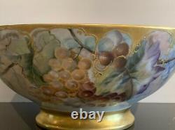 Limoges Gorgeous Huge Antique Hand Painted Porcelain Punch Bowl Pièce Maîtresse