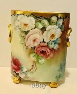 Limoges Guerin Dropping Chabage Rose Antique Peint À La Main Rare Cachepot Vase 9