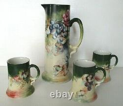 Limoges Jean Pouyat Peint À La Main En Porcelaine Tankard Pitcher & Mugs, Signé