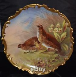 Limoges L R L Main Plate Painted Jeu De Plaque Cabinet Faisans / Muville