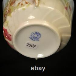 Limoges Ls & S Velouté Cup & Saucer Set De 4 Peint À La Main Florale D'or 1890-1925