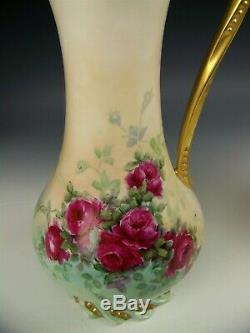Limoges Main Roses Painted Or Gilt Poignée 12 Chocolate Pot Footed