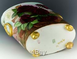 Limoges Main Roses Peintes 10-3 / 4 Cache Pot Vase