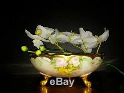 Limoges P & P Main Roses Peintes Et Bavière Bowl Footed Creamer & Sugar Bowl