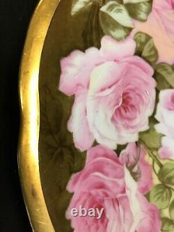 Limoges P&b Peinture À La Main Roses Or Gilt Rim 12plate Charger