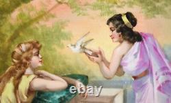 Limoges Peint À La Main Antique Chargeur Deux Femme Romaine Releasing Dove Sgnd Dubois