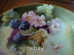 Limoges Peint À La Main Darcy's Studio Signé Dubois Footed Bowl, Blackberries, 10