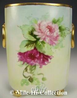 Limoges Peint À La Main Mamans Or Gild 12.25 Cachepot Vase