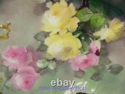 Limoges Peint À La Main Peach Roses Rein Forme De Commode Plateau Signé Ida Ferris