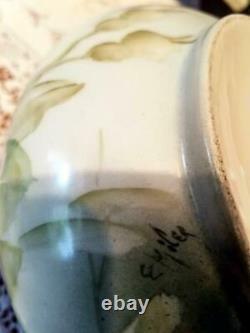 Limoges Peint À La Main Pichet De Cidre De Rose, Artiste Signé, Ester Miler