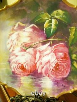 Limoges Peint À La Main Reflecting Waters Plaque De Mur Rose, Artiste Signé