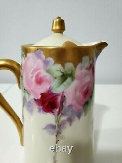 Limoges Peint À La Main Violet Fleur Thé Café Chocolat Pot / Tray, Artiste Signé