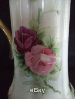 Limoges Peint En Porcelaine Tankard 15.5in Roses Rose Rouge Or T & V Tressemann Vogt
