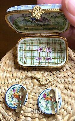 Limoges Peint Main La Gloriette Panier De Pique-nique! Boîte Àrinket