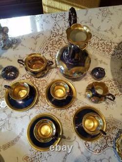 Limoges Peinte À La Main Chocolat Pot 4 Tasses / 4 Soucoupe Creamer / Sucre Set Bowl