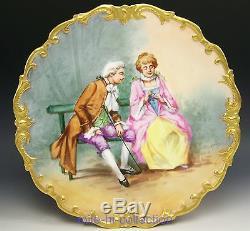 Limoges Peinte À La Main Courtship Scène De Couple Chargeur Plaque Artiste Dubois