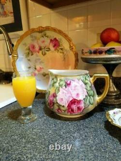 Limoges Peinte À La Main Lemonade Cidre Pitcher Rose
