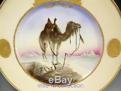 Limoges Peinte À La Main Prier Hommes Sur La Scène Sunrise Camel Desert Gold Plate Élevé