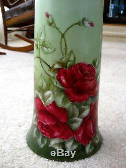 Limoges Peinte À La Main Roses Vase