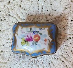 Limoges Peints À La Main Floral Gilt Trim Trinket Vanity Box Signé