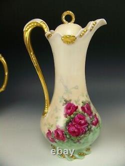 Limoges Peinture À La Main Roses Gold Gilt Handle 12 Footed Chocolate Pot