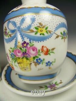 Limoges Peinture À La Main Rubans Floraux 3 Pièces Tumble-up Français Bedside Carafe Set