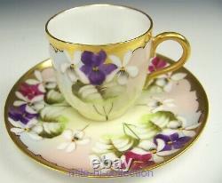 Limoges Pickard Peint À La Main Hessler Violet Bouquet Demitasse Cup & Saucer