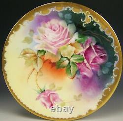 Limoges Pickard Peinture À La Main Roses Plate Artiste Signé