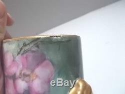Limoges Pieds Cache Pot À Fleurs Peints À La Main Joli Vert Et Rose